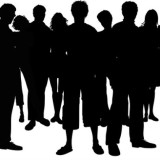 crowd of people in silhouette