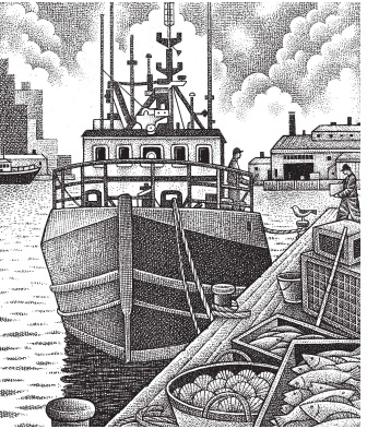 Fishing trawler docked in harbor. Illustration by Paul Hoffman for PlannersWeb