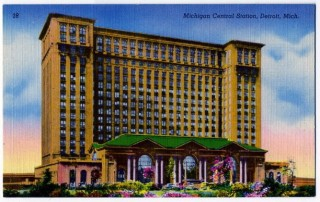 Old postcard of Michigan Central Railroad Station & Tower in Detroit