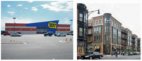 Two very different Best Buy stores