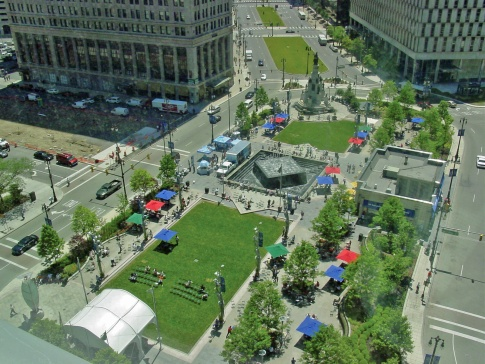 Aerial view of Campus Martius Park