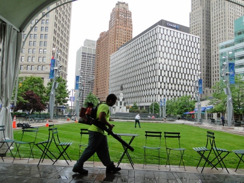 Early morning cleaning in Detroit's Campus Martius Park