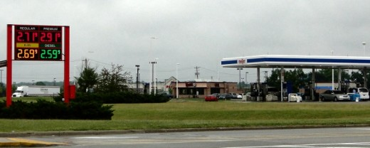 Digital sign shows gas pump prices