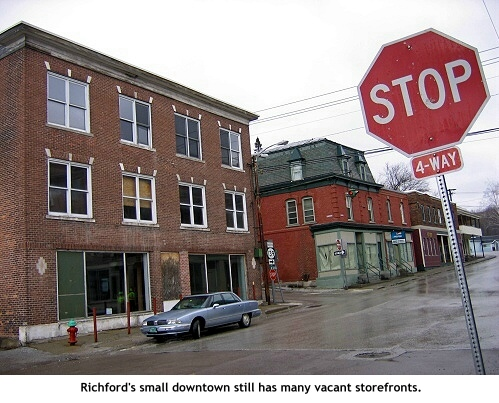 A block in downtown Richford, Vermont