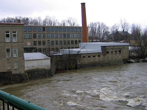 The Main Street Mill in Richford, Vermont, seen from across the Missisquoi River