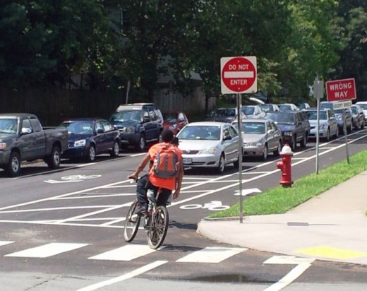 photo of bike lane in Charlottesville