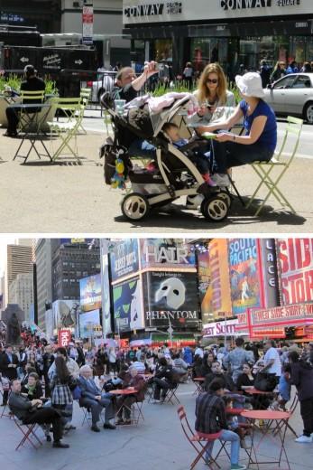 seating on Broadway in midtown Manhattan