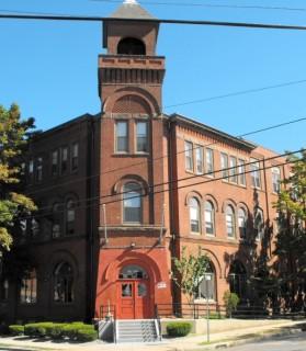 Corner of Billings Forge building in Hartford