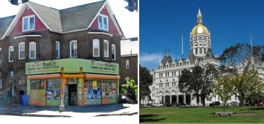 Connecticut State Capitol building and corner grocer in nearby Frog Hollow neighborhood.
