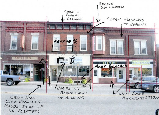Marked up photo of building facades