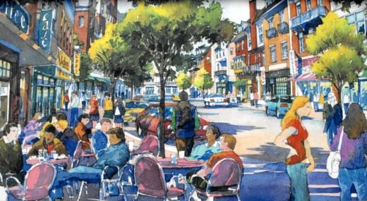 "Illustration of the future ""Village Street"" in Storrs Center."