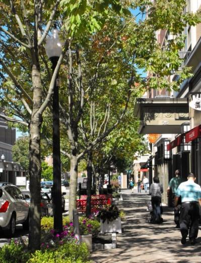 Walking down Isham Road in Blue Back Square