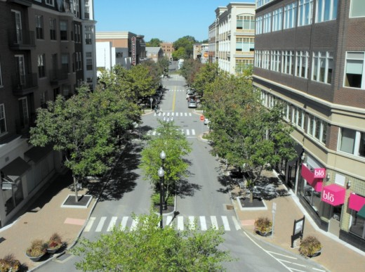 View of Isham Road from garage roof in West Hartford's Blue Back Square