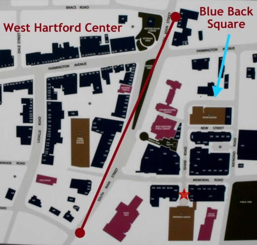 Map of West Hartford Center and Blue Back Square