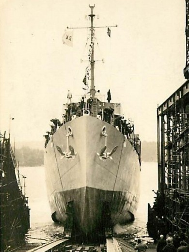 One of the many Navy destroyers launched from Bath during World War II
