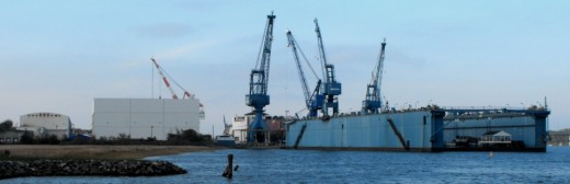 View of Bath Iron Works from city park