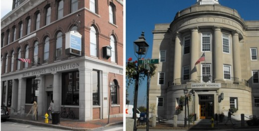 Savings Bank and City Hall in downtown Bath