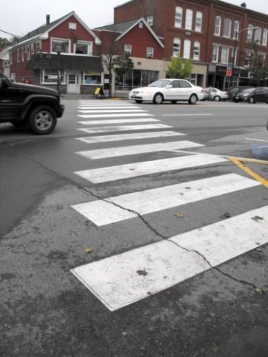 Diagonal crosswalk in downtown Brunswick