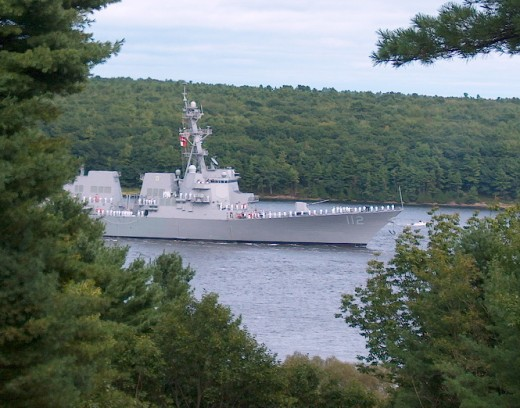 photo of USS Michael Murphy on the Kennebec River; photo by Jim Upham