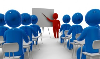illustration of teacher lecturing students