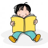 Cartoon of child reading a book