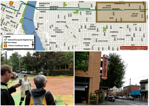 """Map is from First Stop Portland's """"Learning Portland"""" guide; more on this later. The photo above left is of the painted circle in one of the dozens of """"intersection repair"""" projects in Portland. I'll be discussing this program in a coming post. Above right, part of the neighborhood's commercial hub, anchored by a mixed-use project -- including Zupan's grocery store visible in the photo."""