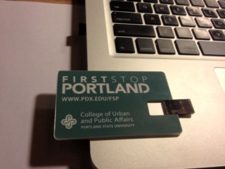 Back in Burlington, Vermont, I'm downloading material about Portland from the flash drive Nancy Hales gave me.