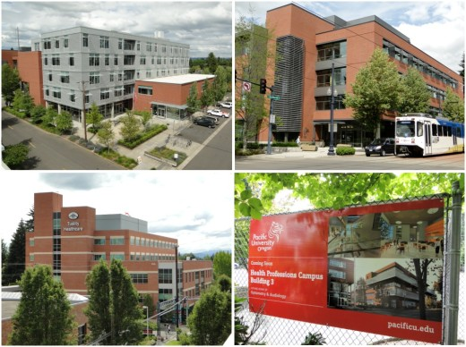 Views of the health campus, near the Tuality Hospital light rail stop. Top row are photos of Pacific University; bottom left is Tuality hospital; bottom right is sign announcing construction of another building by Pacific University, directly across from the light rail stop. Photos by Wayne Senville.