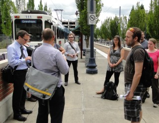 IMCL conference attendees arriving at downtown Hillsboro light-rail station.
