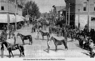 Postcard image of horse fair at 2nd & Main in downtown Hillsboro.