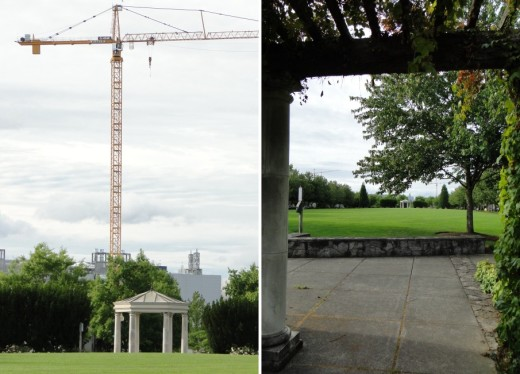 Two views of Orenco Station's Central Park. If you scroll back up to the aerial photo, you can see that it's located close to the Intel plant.