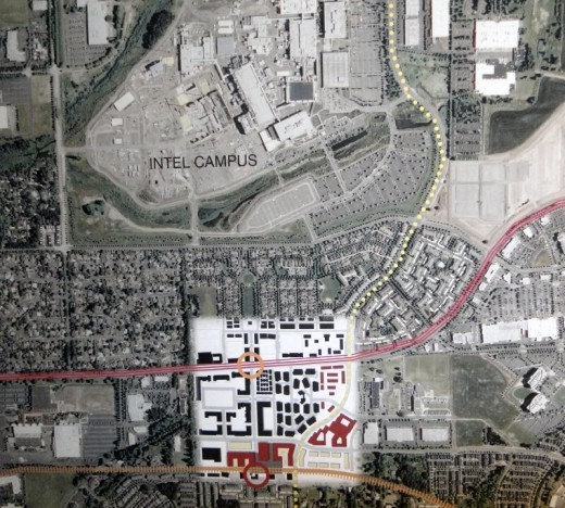 This aerial map shows most of the Orenco development. On the south, the red circle shows the location of the light rail stop (there is more housing south of this); the yellow circle shows the location of the commercial Town Center on NE Cornell Road, a major arterial. The massive Intel facility is adjacent to the Orenco development to the north.
