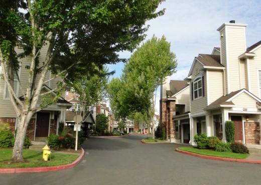 Above: Medium density housing on skinny streets; below: lower density housing closer to Orenco's Central Park.