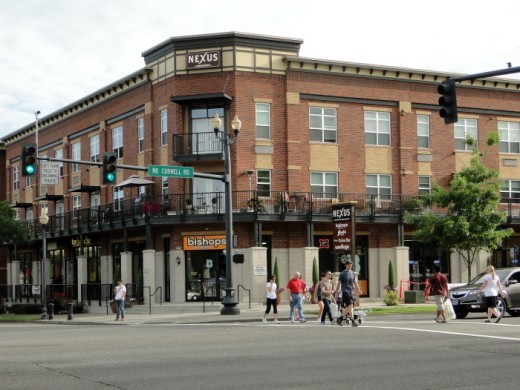 Mixed-use development in Orenco Station's Town Center area.
