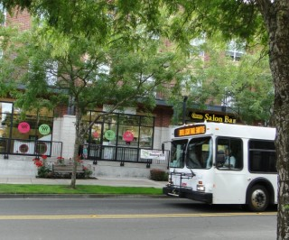 A shuttle bus also circulates through Orenco, connecting with the light rail station.