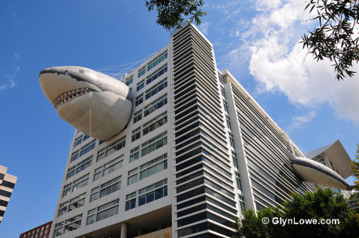 Shark Week. A massive inflatable Great White Shark in 5 pieces adorns the Discovery Channel HQ building in Silver Spring, Maryland. Photo by Glyn Lowe Photoworks; Flickr Creative Commons license.