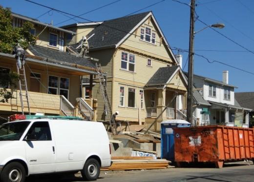 Infill on a residential block in Belmont/Sunnyside neighborhood of Portland, Oregon