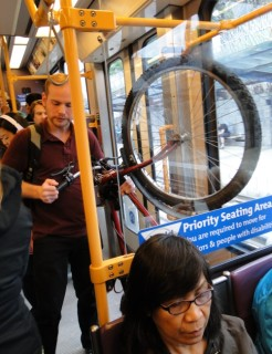 There are special designated areas for bicycles on each light rail car.