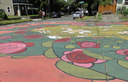 Intersection design for 8th & NE Holland in Portland, Oregon. photo by Wayne Senville.