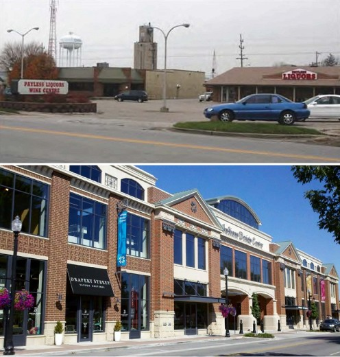 Before and after photos of the Carmel Design Center. It houses 45 design-related businesses.