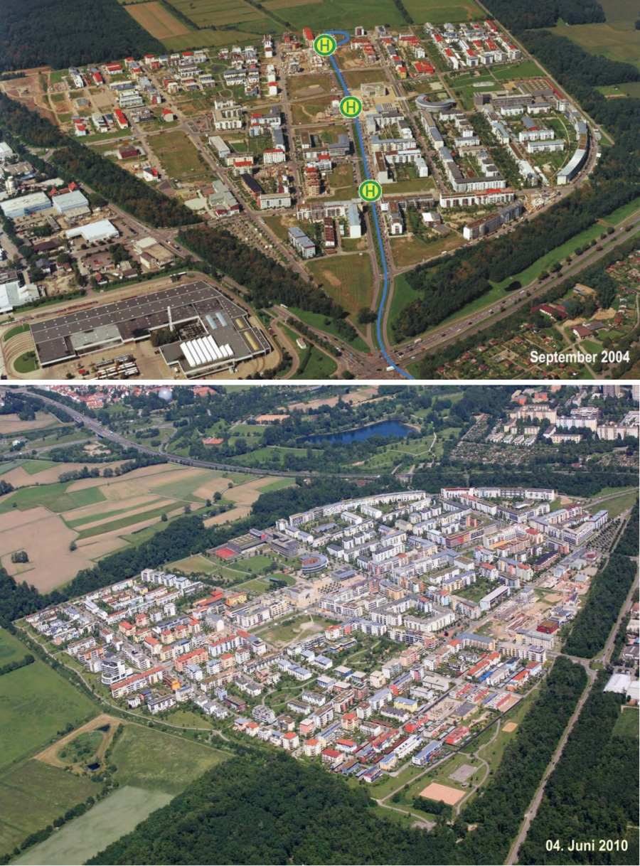 Two aerial photos show the pace of development in Rieselfeld between 2004 and 2010. In the earlier photo, the location of the streetcar stops are highlighted. All images are from Mayor Sven von Ungern-Sternberg's conference presentation.