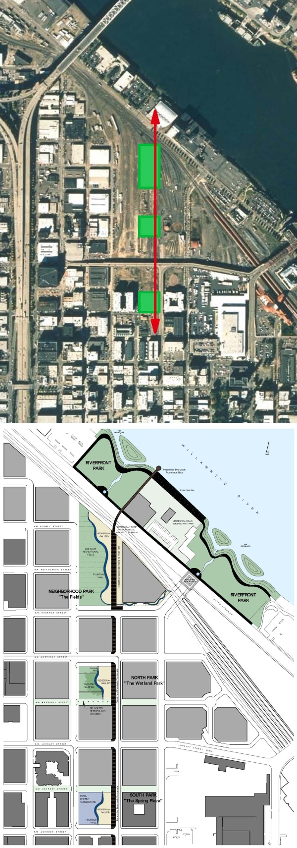 Aerial map and conceptual plan map from the Urban Design Framework study for the three parks (in green). From south (bottom) to north: Jamison Square; Tanner Springs Park; and The Fields. The 32-acre railyard is clearly visible in this photo. The Pearl District spreads to the west, up to where Interstate 405 bisects Portland. Click on maps to view them at larger size.