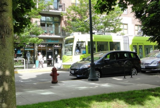 Streetcar in Portland's Pearl District