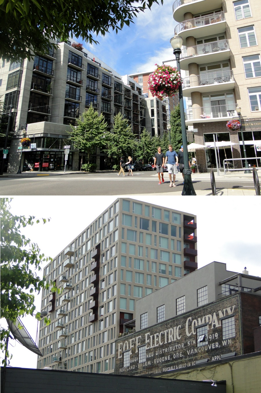 Two of the many new buildings in Portland's Pearl District just north of downtown.