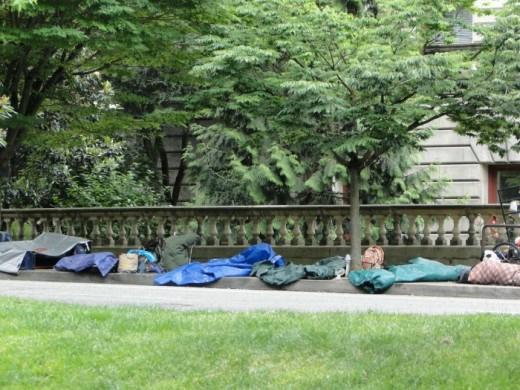 Homeless encampment in downtown Portland
