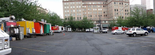 Parking lot surrounded by food carts in downtown Portland
