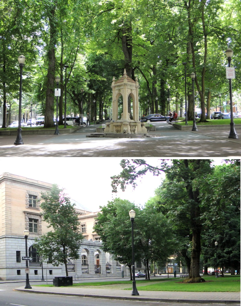 Top photo is of the fountain in Shemanski Park -- one of the 12 South Park blocks. Below, part of the North Park blocks, with the old Custom House Building visible on the left.