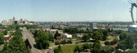 Panoramic view of the Willamette River and downtown Portland taken from the aerial tram.
