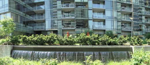 Water feature in front of new residential tower in Portland's South Waterfront District