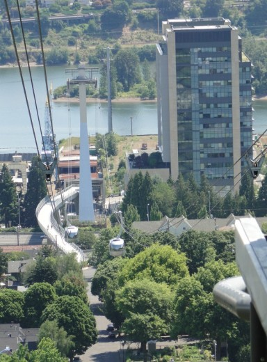 View of OHSU's Center for Health & Healing in the South Waterfront District along the Willamette River.